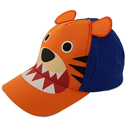 ABG Accessories Toddler Boys Cotton Baseball Cap with Assorted Animal Critter Designs, Age 2-4 (Tiger Design - Orange/Blue)