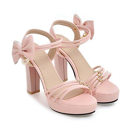 QIN&X Damen Sandalen Block High Heels Peep Toe Knöchelriemen Sommer Schuhe Pink