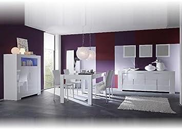 Esszimmer Komplett Eros Weiss Hochglanz 180x90 Holz Stoff Textil