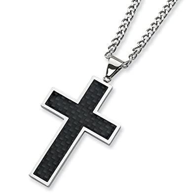 1fc830d644f69 Chisel Black Carbon Fiber and Polished Stainless Steel Cross Necklace on 24  Inch Chain