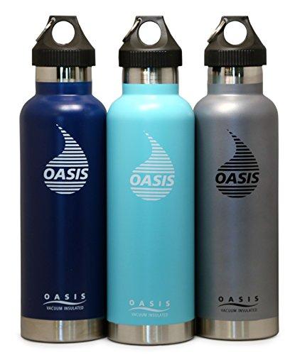 Oasis Stainless Steel Vacuum-Insulated Water Bottle, w/Leak Proof Loop Cap, Gray, 25oz