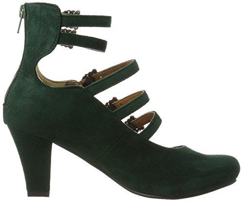Hirschkogel Ladies 3004501 Strappy Pumps Verde (abete 147)