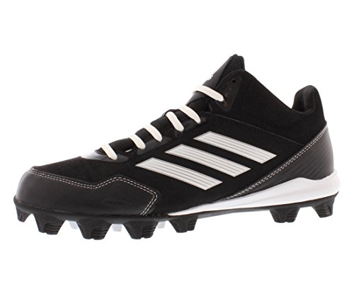 adidas Performance Men's Wheelhouse Mid Baseball Cleat, Core Black/Running White/Metallic/Silver, 9 M US (Softball Cleat Mid 9 Spike)