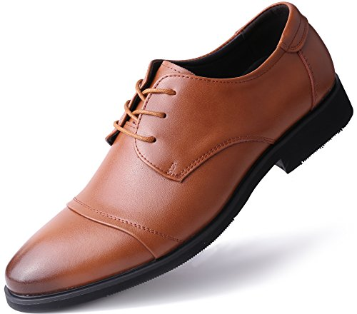 Marino Oxford Dress Shoes for Men - Formal Leather Mens Shoes - Tan - Cap-Toe - 10 D(M) -
