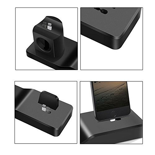 Apple Watch Stand,3 in 1 Silicone Airpods Charging Stand/Charging Dock Holder/Apple Watch Charging Station for Apple Airpods,All Series Watch,iPhone X/8/8 Plus/7/7 Plus/6s Plus - Black by Tzomsze (Image #4)