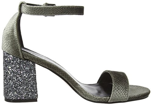 Boohoo Two Part Heel, Sandalias Mujer Gris (Grey Snake/Glitter)