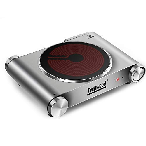 Techwood 1200 Watts Countertop Burner, Infrared Ceramic Single Cooktop, Portable Electric Hot Plate, Stainless Steel, ES-3101C