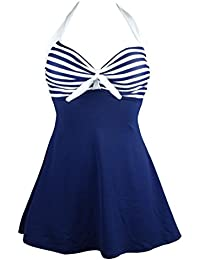 e3fb8968bf08d Vintage Sailor Pin Up Swimsuit Retro One Piece Skirtini Cover Up  Swimdress(FBA)