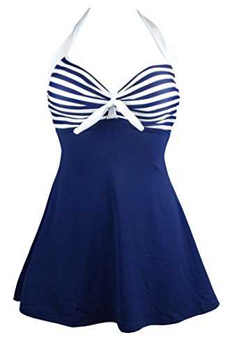COCOSHIP White & Navy Blue Striped Vintage Sailor Pin Up Swimsuit One Piece Skirtini Cover Up Beachwear S(FBA)