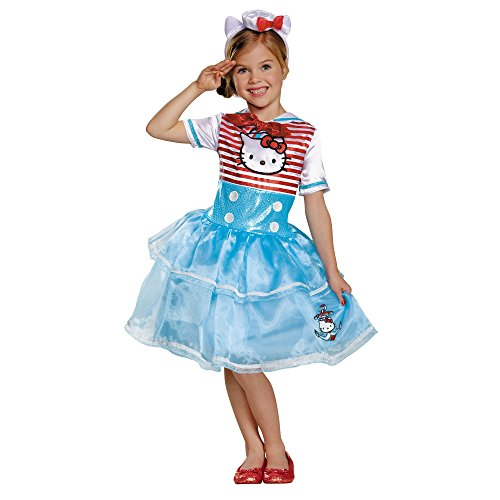 Disguise Girls Hello Kitty Sailor Costume Hat & Gloves, (Hello Kitty Girls Costume)