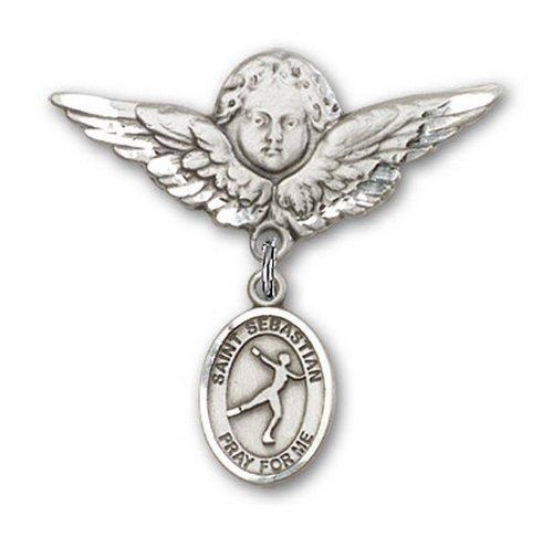 Icecarats Créatrice De Bijoux En Argent Sterling St. Sebastian / Patinage Artistique Charme Broche De Badge D'Ange