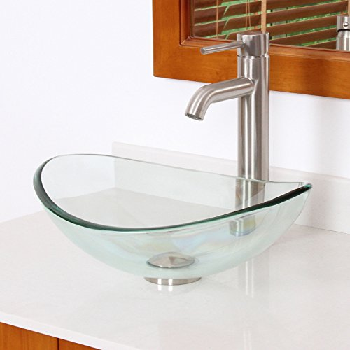 ELITE Unique Oval Clear Tempered Bathroom Glass Vessel Sink & Brushed Nickel Single Lever Faucet Combo