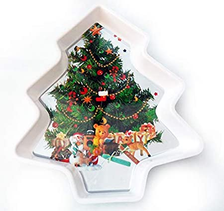 Christmas Serving Tray Xmas Tree Shape And Image For Snacks Etc By Homestreet