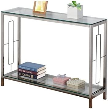 Athena Modern Contemporary Glass Console Table With Storage