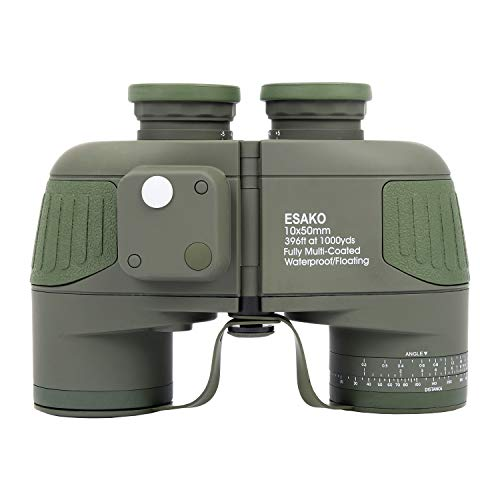 ESAKO Marine Binoculars 10x50mm with Rangefinder & Compass IPX7 Waterproof Military Binoculars for Boating Birdwatching Hunting BAK4 Prism FMC Coated w/Carry Bag and Strap