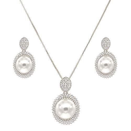 Lavencious Dangle Drop with Cream Color Pearl & CZ Stones Rhodium Plated Necklace & Earrings Set for Women
