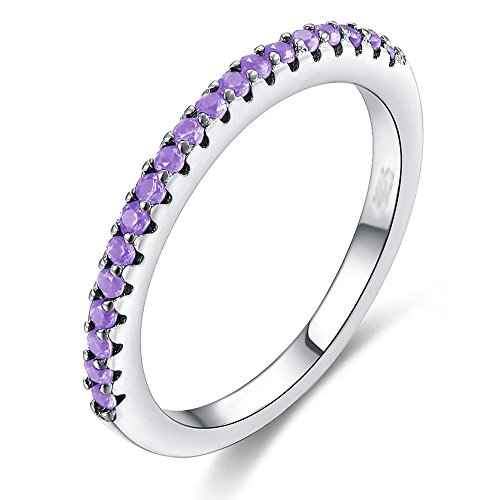Multicolor CZ Simulated Diamond Platinum Plating Stackable Ring Pave Eternity Bands for Women (Purple, 8)