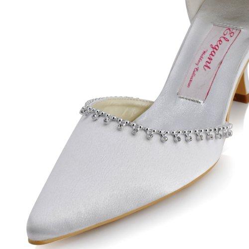 ElegantPark EP11001 Mujer Saten Scarpe A Puntas Tira de tobillo Diamante Stiletto Mini tacon Novia boda zapatos Blanco