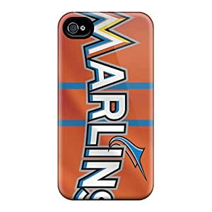Excellent Hard Phone Covers For Iphone 4/4s (XDp5341xFOc) Customized Vivid Miami Marlins Pattern
