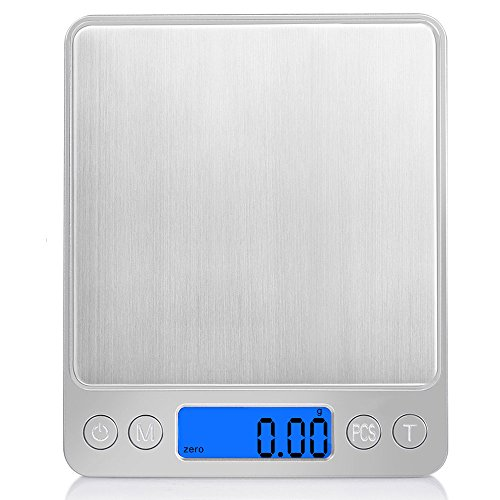 Digital Scale, LED Backlight Display, 500g~0.01g Electronic Weighing Scales for Jewelry, Medicine, Milk Powder, Coffee, Pet Food and others, Stainless Steel + ABS