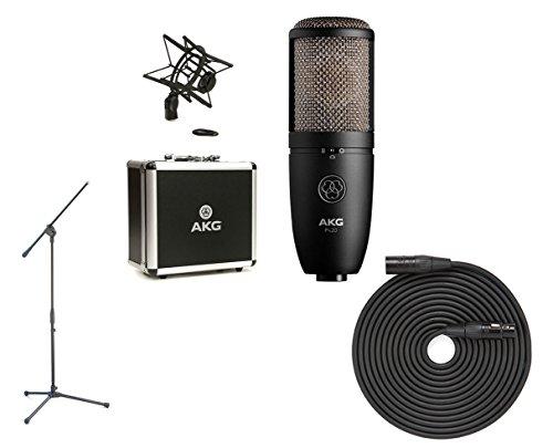 (AKG P420 Studio Condenser Microphone + Boom Mic Stand + XLR Cable)