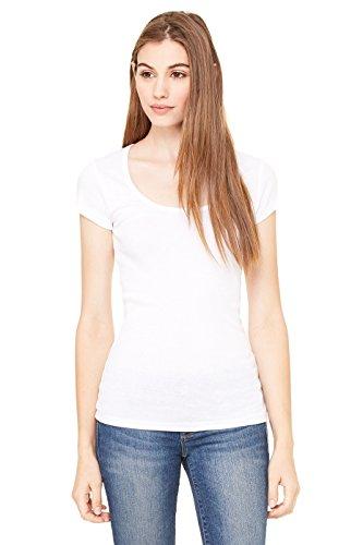 Bella Womens Margot sheer Scoop Neck Cap Sleeve T Shirt - WHITE - Large