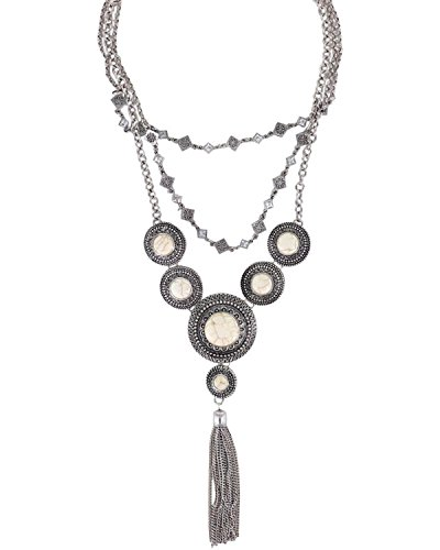 Shyanne Women's Concho Layered Tassel Necklace Silver One Size (Concho Chain Necklace)