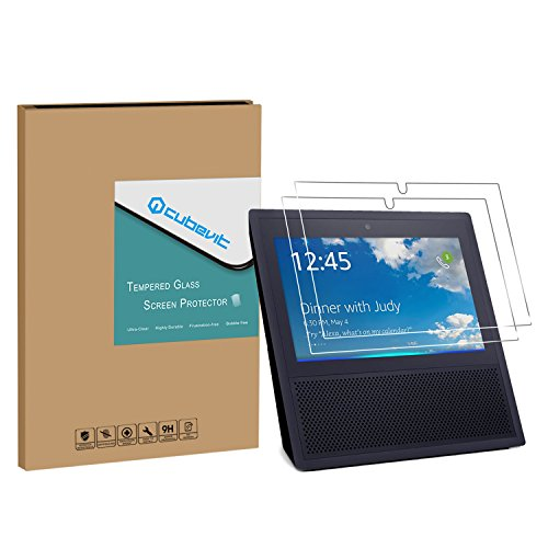 Price comparison product image Echo Show Screen Protector,  Cubevit Echo Show 2 Pack Tempered Glass Screen Protector,  [Cutout for Camera] HD Clear Glass Screen Protector Bubble Free / Scratch Proof / Full Coverage for Echo Show