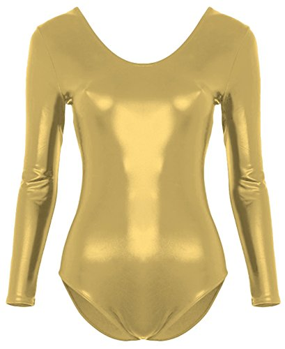 Marvoll Women's Metallic Long Sleeved Leotard Dancewear (Small, Light Gold)