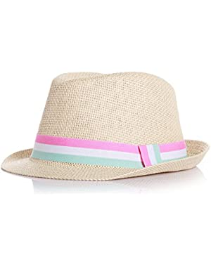Summer Raffia Weave Straw Sun Hat Strap Woven Imported Wear for Baby and Children (Pink, for 10 Months - 2.5 Years...