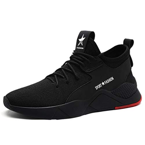 BAOLESEM Steel Toe Work Shoes Women Men Summer Safety Sneakers Puncture Proof Breathable Lightweight Industrial & Construction Shoes 677Black 9 Women / 7.5 Men