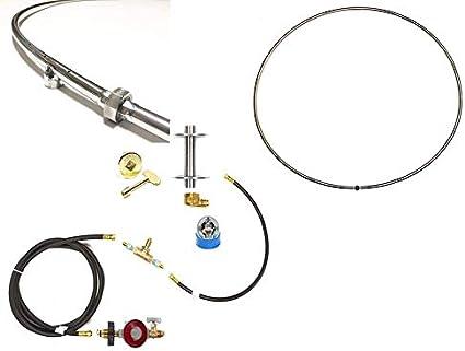 48.0, 48 Single Ring 2pc Hoop Burner EasyFirePits Single Ring 316 Stainless Steel Gas FIRE Ring Hoop Burner