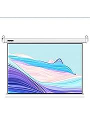 Eléctrico de72pulgadas Pantalla Proyector,pantalla de Cine de Alta Definición16:9con Control Remoto Automático Diagonal,utilizada Para Presentaciones de cine en Casa Educación al Aire Libre(blanco)