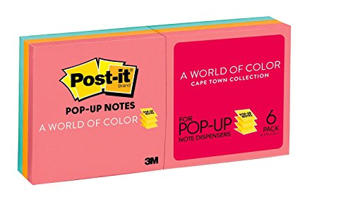 (Post-it Pop-up Notes, America's #1 Favorite Sticky Note, 3 in x 3 in, Cape Town Collection, 6 Pads/Pack (R330-AN))