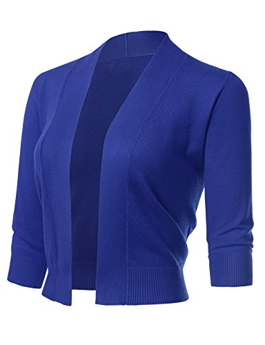 ARC Studio Women's Classic 3/4 Sleeve Open Front Cropped Cardigans (S-XL) XL RoyalBlue