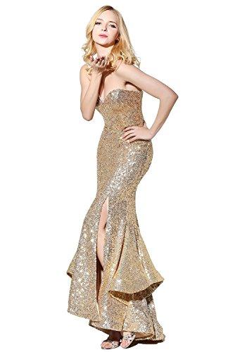 Fanciest Evening Women' Meerjungfrau Sweetheart Royal Abendkleider Ballkleid Kleid Blue Gold Formelle Sequin 00Zrwx
