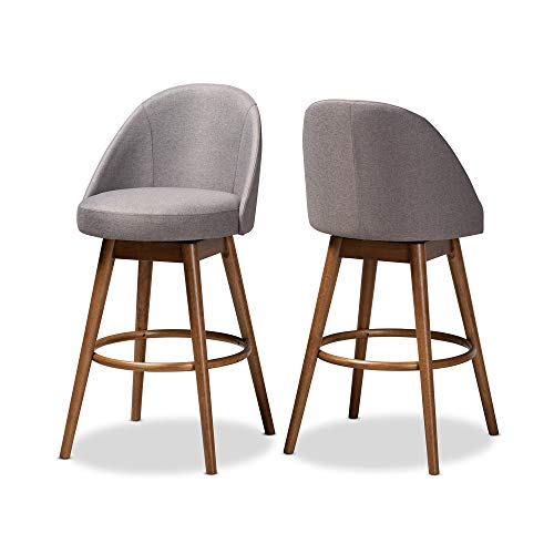 (Baxton Studio 157-2PC-9650-AMZ Bar Stool 2-Piece Set, Gray)