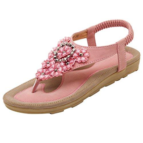 Dolamen Sandales Femme Été, Filles Sandales Herringbone Bohême Perles Clip Toe Plage Flat Flip Flops Elastic T-Strap Tongs Chaussures Chaussons Rose