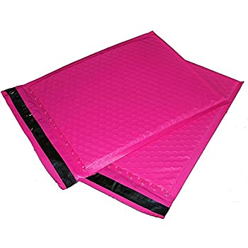 "ValueMailers 50-Pack #000 (4"" x 8"") Hot Pink Bubble Padded Poly Mailer Shipping Envelope Bags with Self Adhesive Strip, Water Resistant, 4 x 8 Inch"