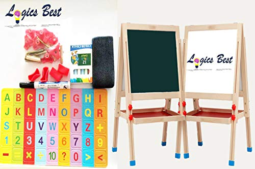 Logics Best White Board for Kids & Big Chalk Board for Kids 3 in 1 Activity Center +Plus Bonus Magnetic Letters/Numbers Chalk & Eraser ()