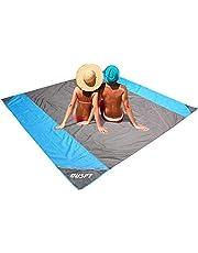 OUSPT Picknickdecke 250 x 200 cm, Stranddecke wasserdichte, Sandabweisende Campingdecke 4 Befestigung Ecken, Ultraleicht kompakt Wasserdicht und sandabweisend(Blau)