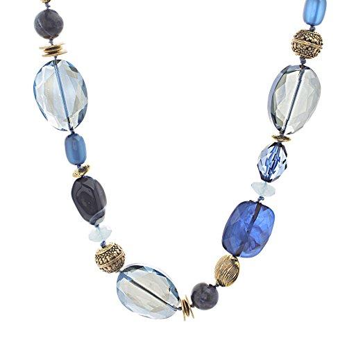 Gold Tone Beaded Chain - Catherine Malandrino Women's Blue Tone Beaded Rolo Chain Yellow Gold-Tone Necklace