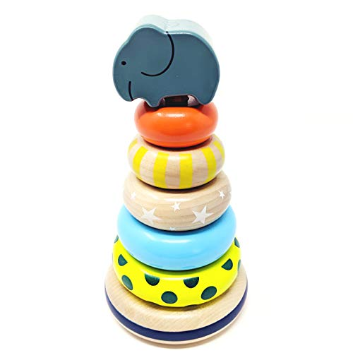 Elephant Rainbow Stacker Rings Toy and Wooden Stacking Toy Baby and Toddler Learning Toy Montessori Baby Toy and Sensory Toy for 1 Year Old and Up 8 Inches - Toy Wooden Rings