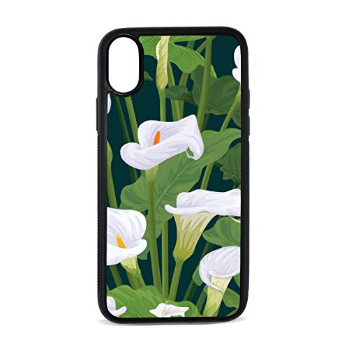 (Case for iPhone Calla Lily Pure White Noble Flower Digital Print TPU Pc Pearl Plate Cover Phone Hard Case Cell Phone Accessories Compatible with Protective Apple Iphonex/xsCase 5.8 Inch)