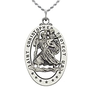 "Men's 0.925 Sterling Silver St Christopher Oval Antique 1.25"" Pendant Necklace"