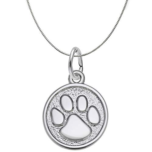 Rembrandt Charms Engravable Sterling Silver Paw Print Charm Necklace, 20