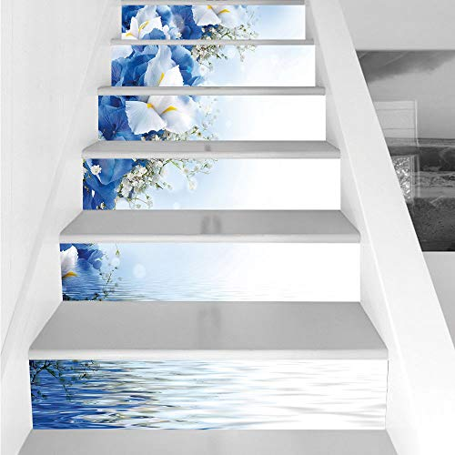 Dreamy Hydrangea (Stair Stickers Wall Stickers,6 PCS Self-adhesive,Light Blue,Blue Hydrangeas and White Irises over The Sea Romantic Bouquet Dreamy,Blue Light Blue White,Stair Riser Decal for Living Room, Hall, Kids Ro)