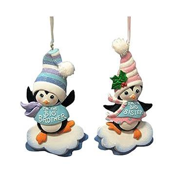 amazon com 4 resin penguin big brother big sister ornaments 2