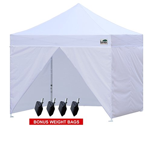 Eurmax 10 x 10 Ez Pop up Canopy Instant Outdoor Vendor White Party Tent With 4 Removable Zippered Sidewalls and Carry Bag