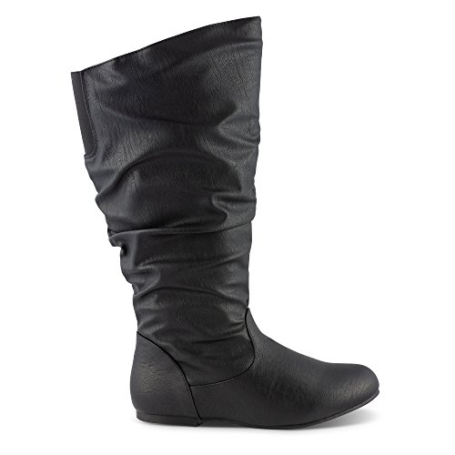 Calf High Flat Wide Black Width Shelly Scrunch Knee Twisted Wide Riding Faux Women's Boot Leather xAnqxPwXz